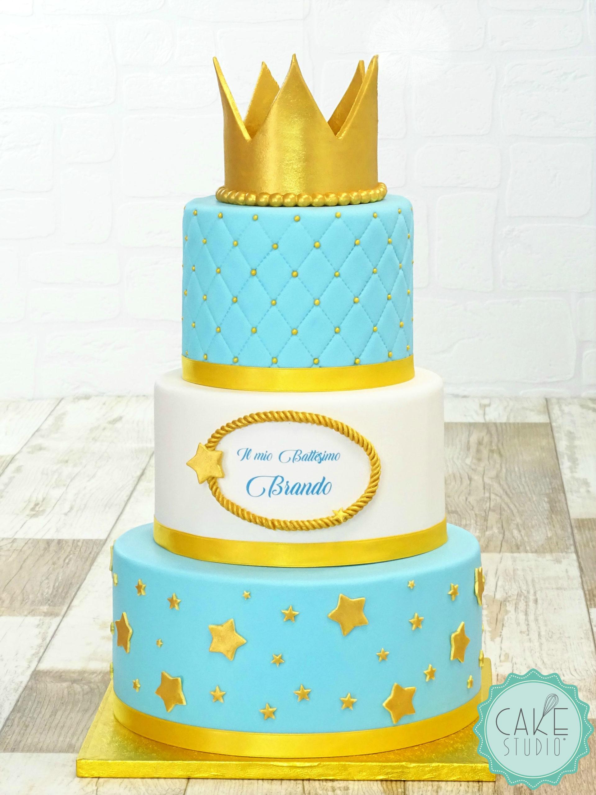 torta per battesimo temapiccolo principe con corona oro e stelle