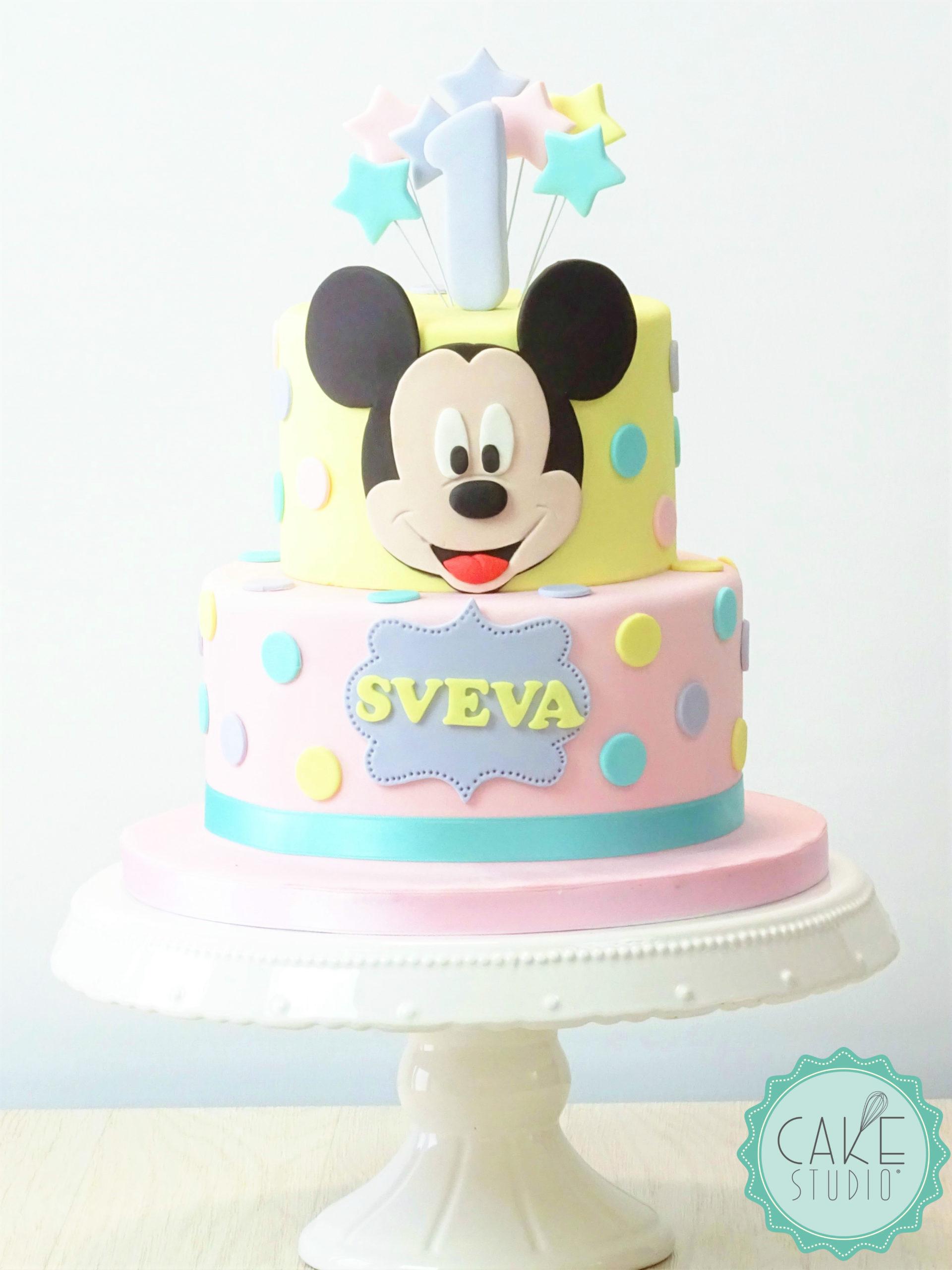 torta primo compleanno topolino pois stelle giallo rosa lilla azzurro