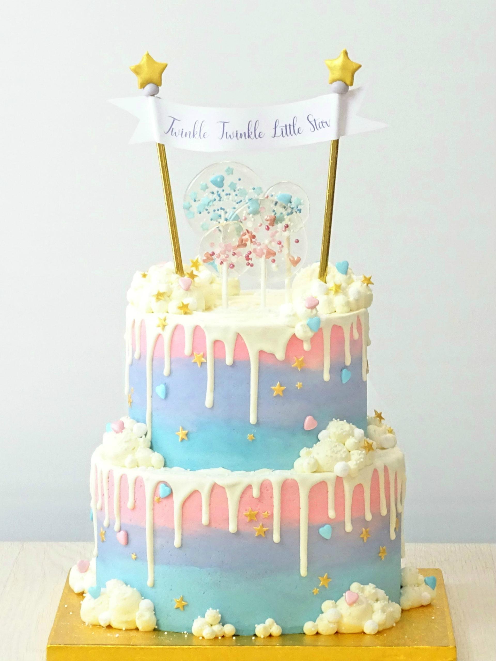torta drip cake bianco rosa azzurra lilla