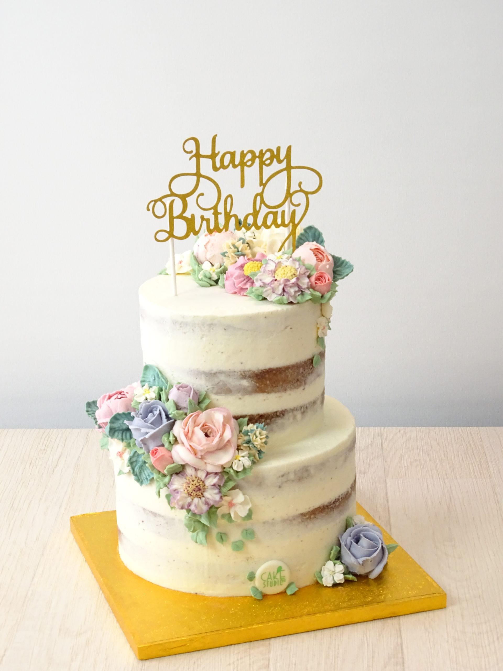 torta compleanno naked seminuda fiori burro happy birthday