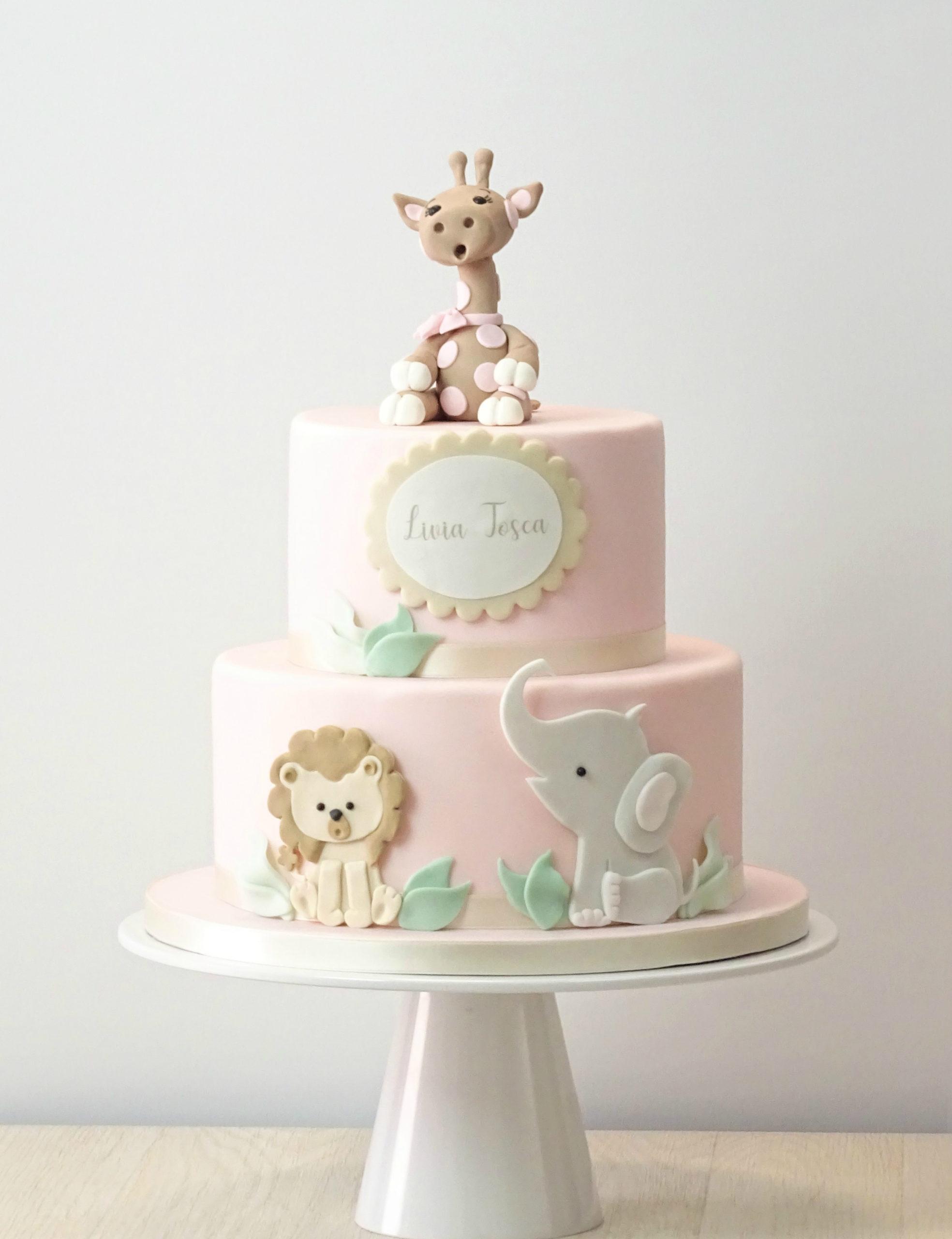 torta primo compleanno con giraffa leone elefante baby