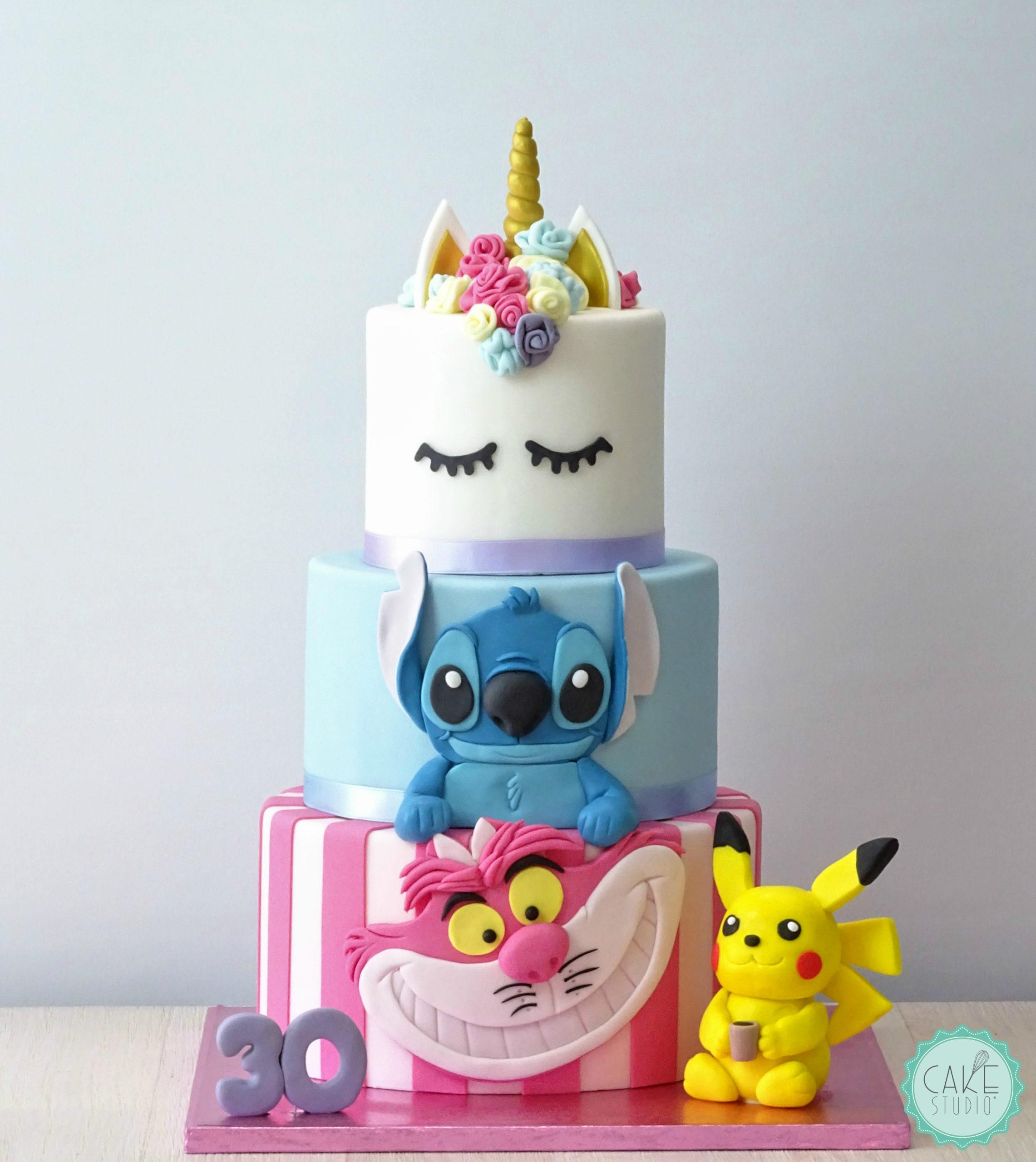 torta stregatto stitch unicorno pikachou