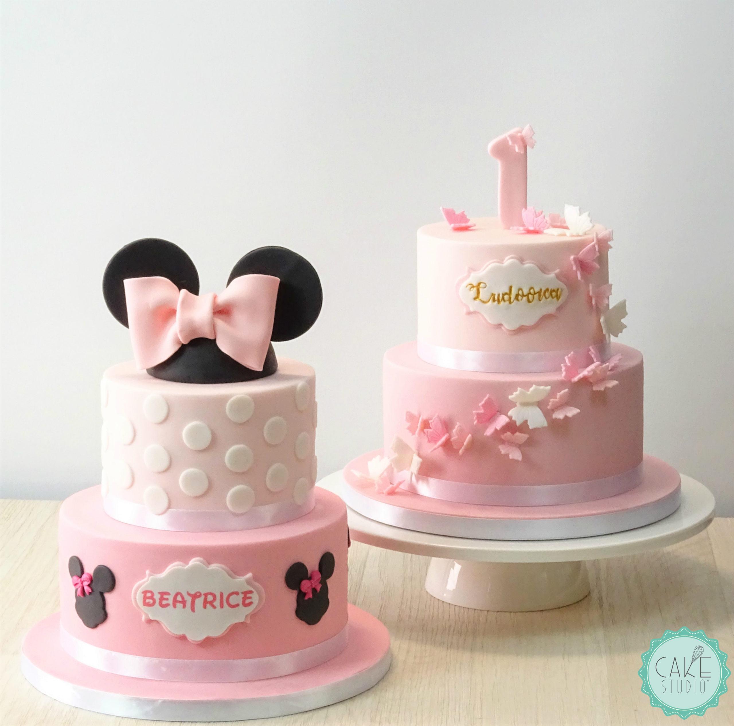 torta primo compleanno rosa per bambina minnie farfalle