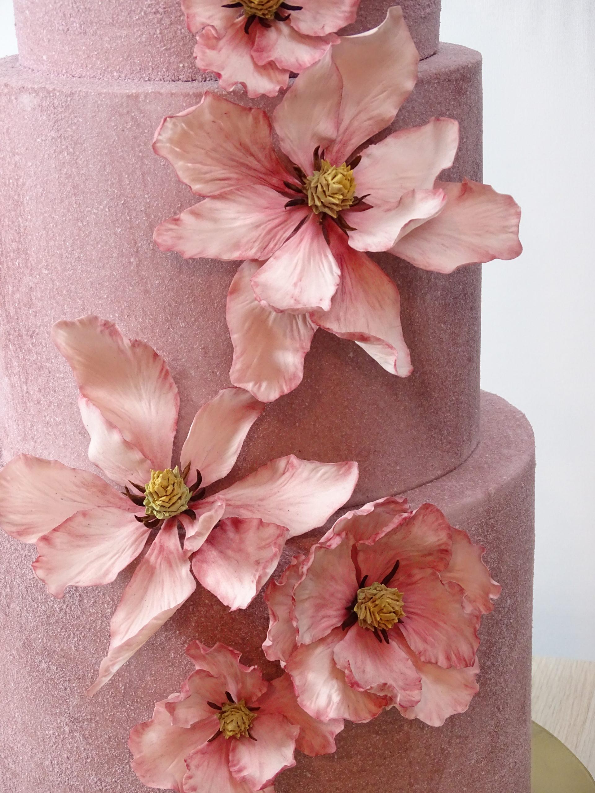 magnolie stilizzate in pasta di zucchero su sfondo di torta con effetto velluto
