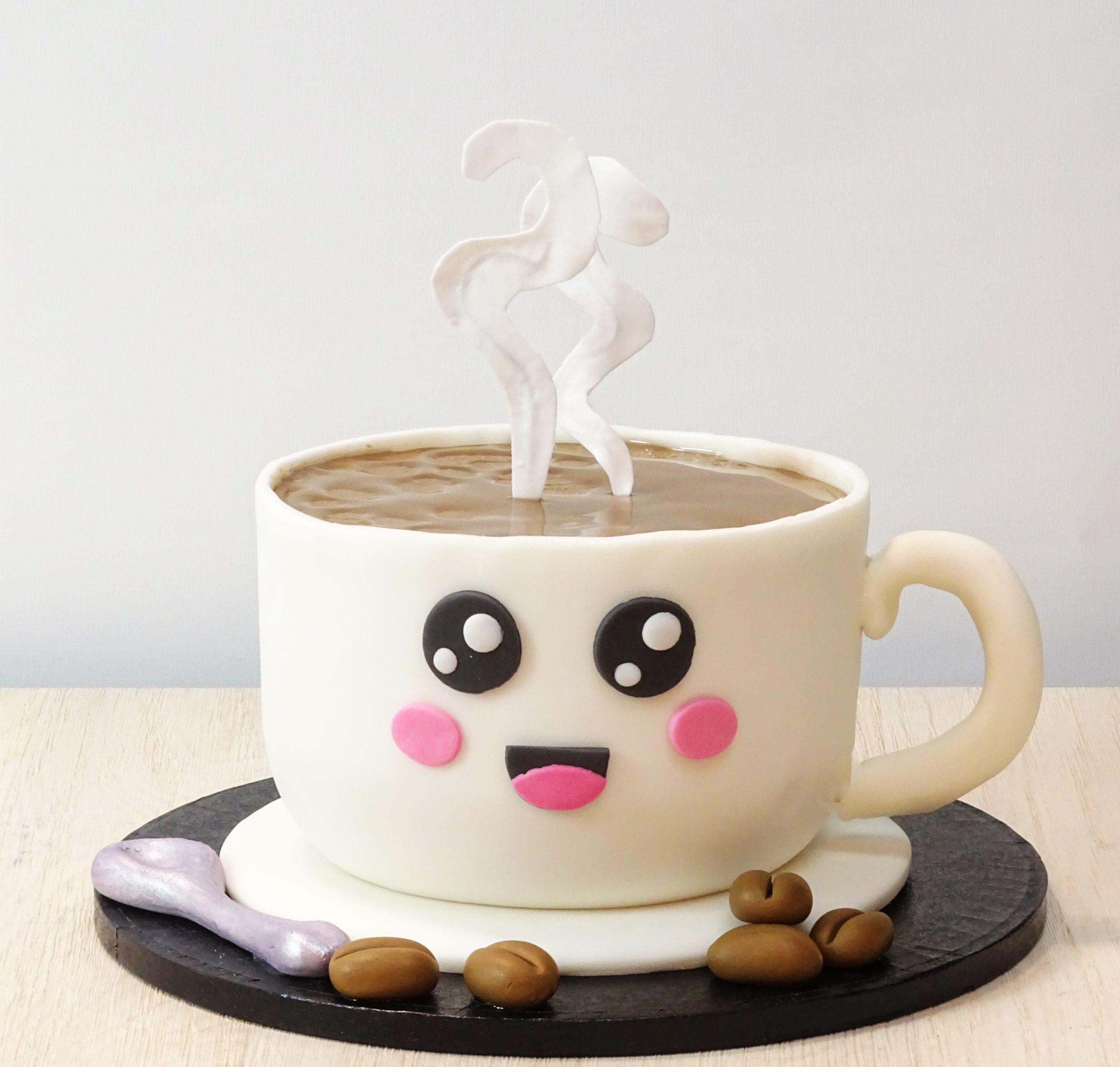 torta compleanno tazza caffè kawai cucchiaino chicchi