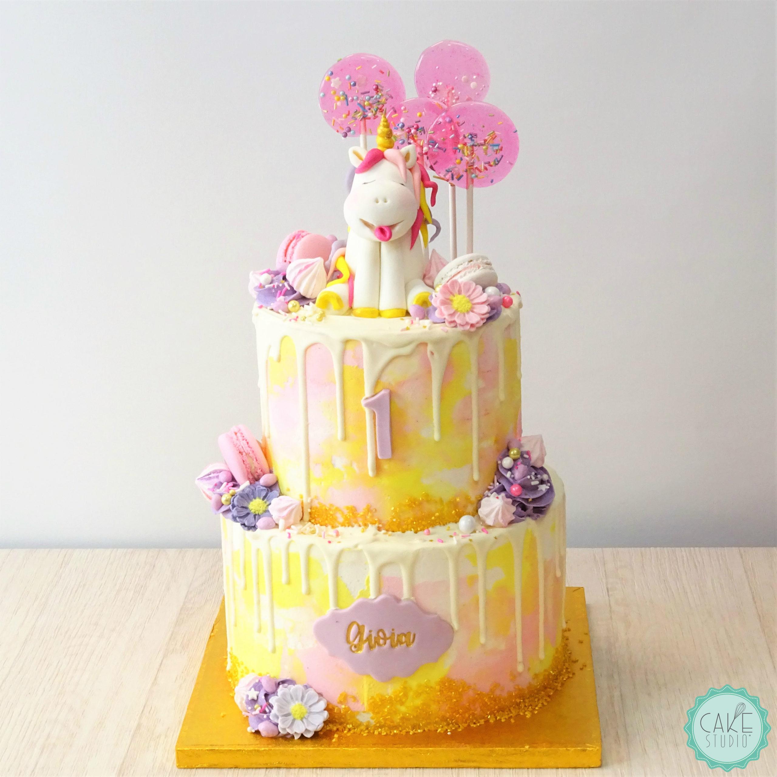 torta primo compleanno unicorno leccalecca