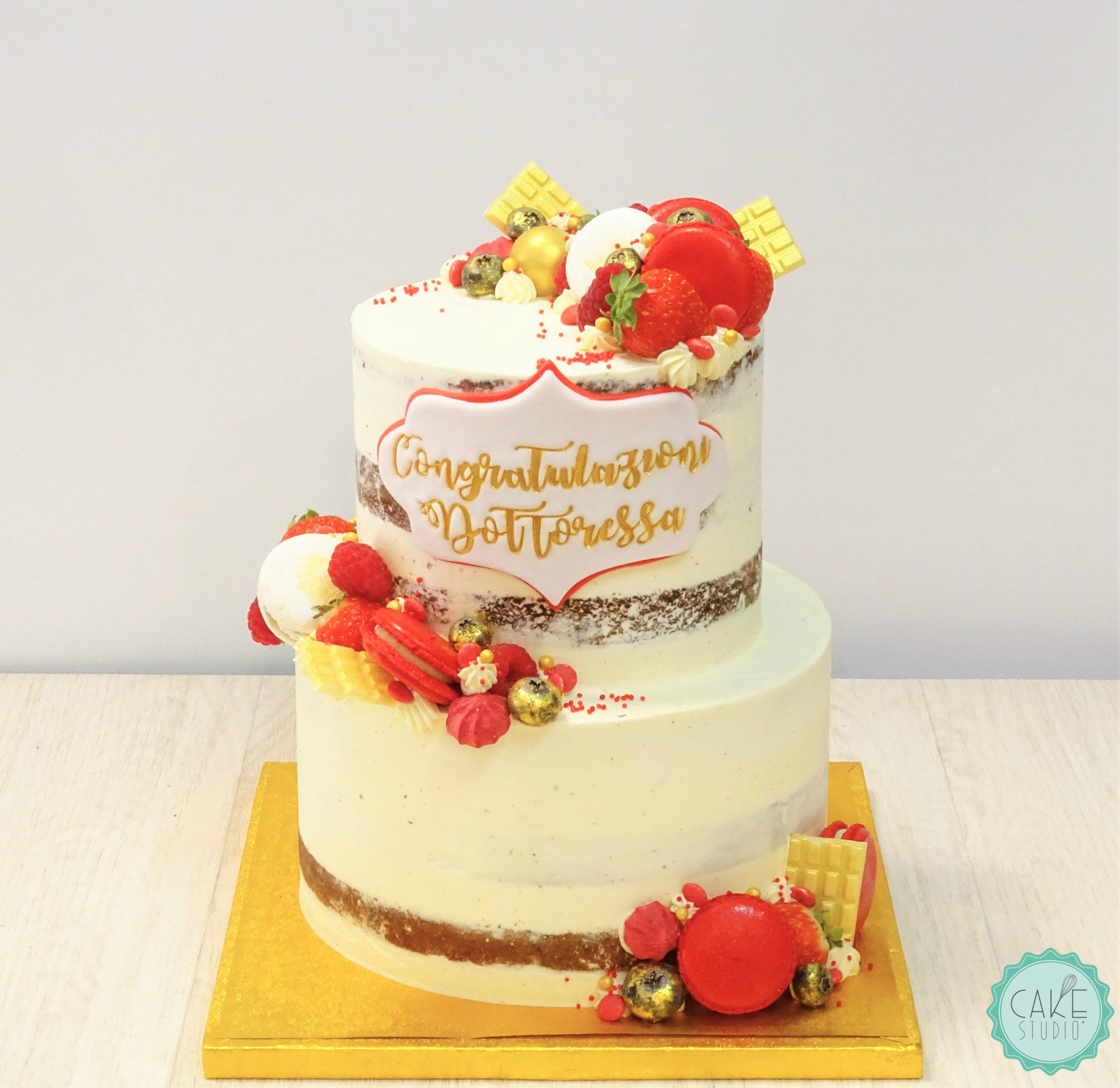torta seminuda per laurea naked con macaron rossi