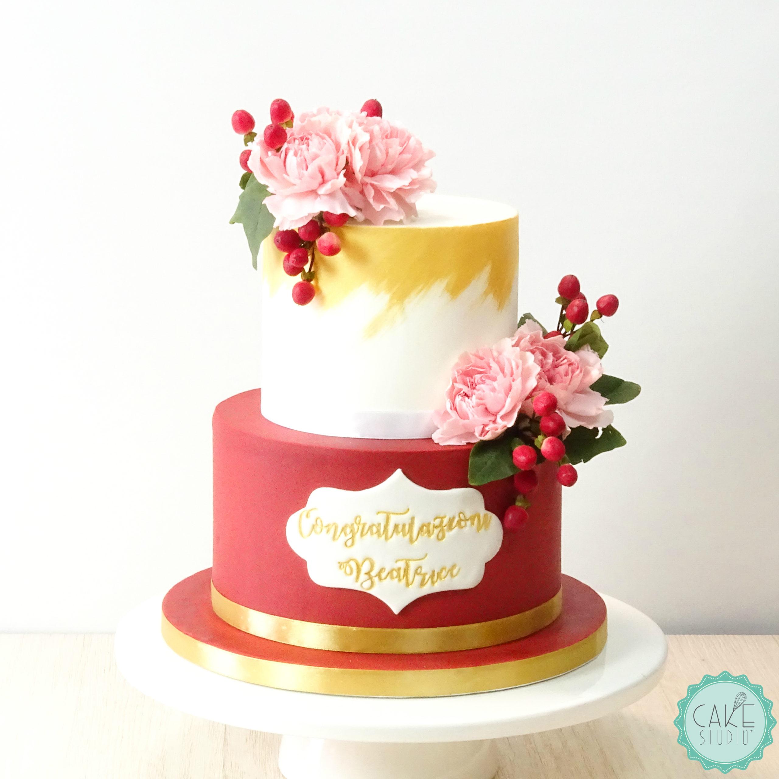 torta laurea rosso oro fiori