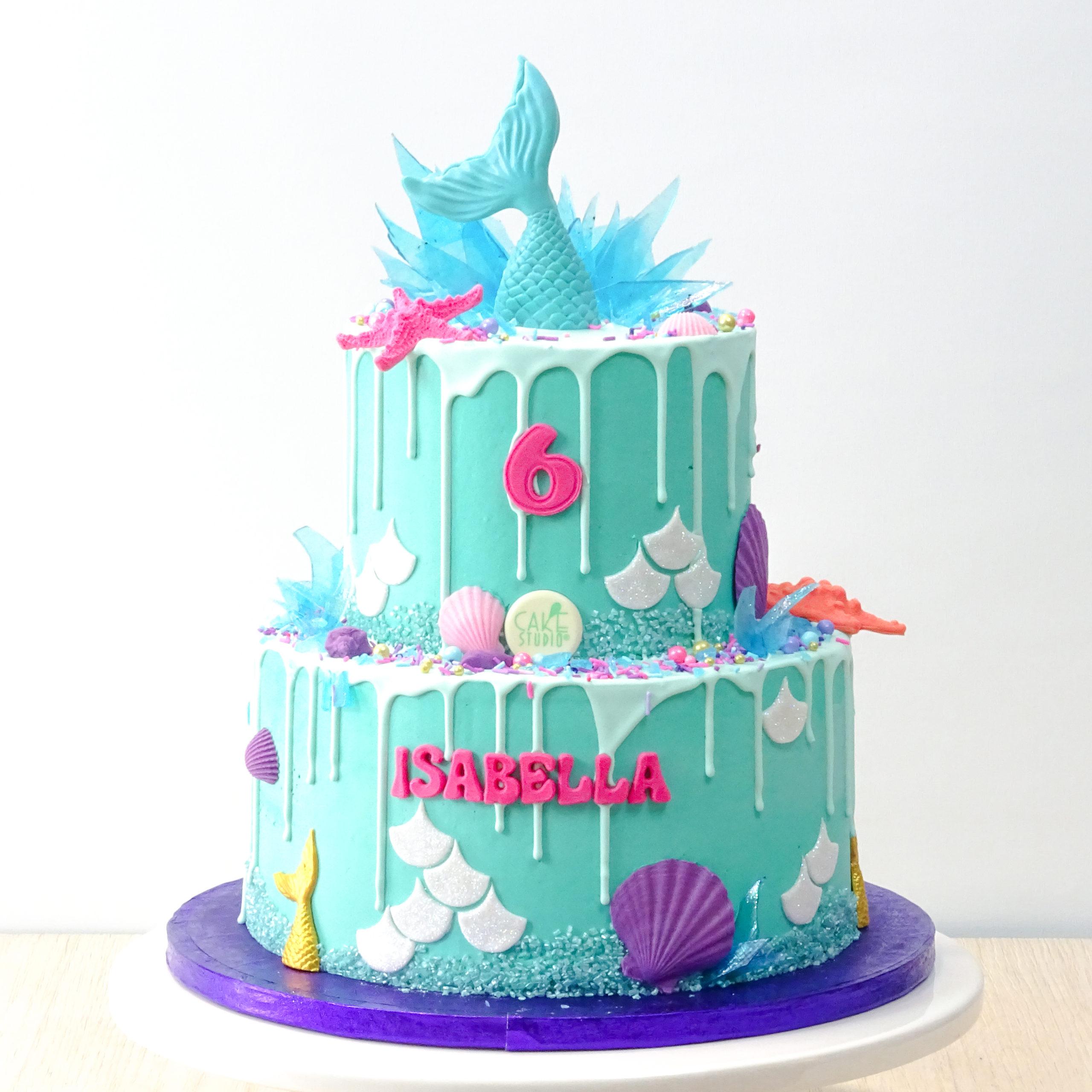 drip cake azzurra sirenetta conchiglie squame stella marina