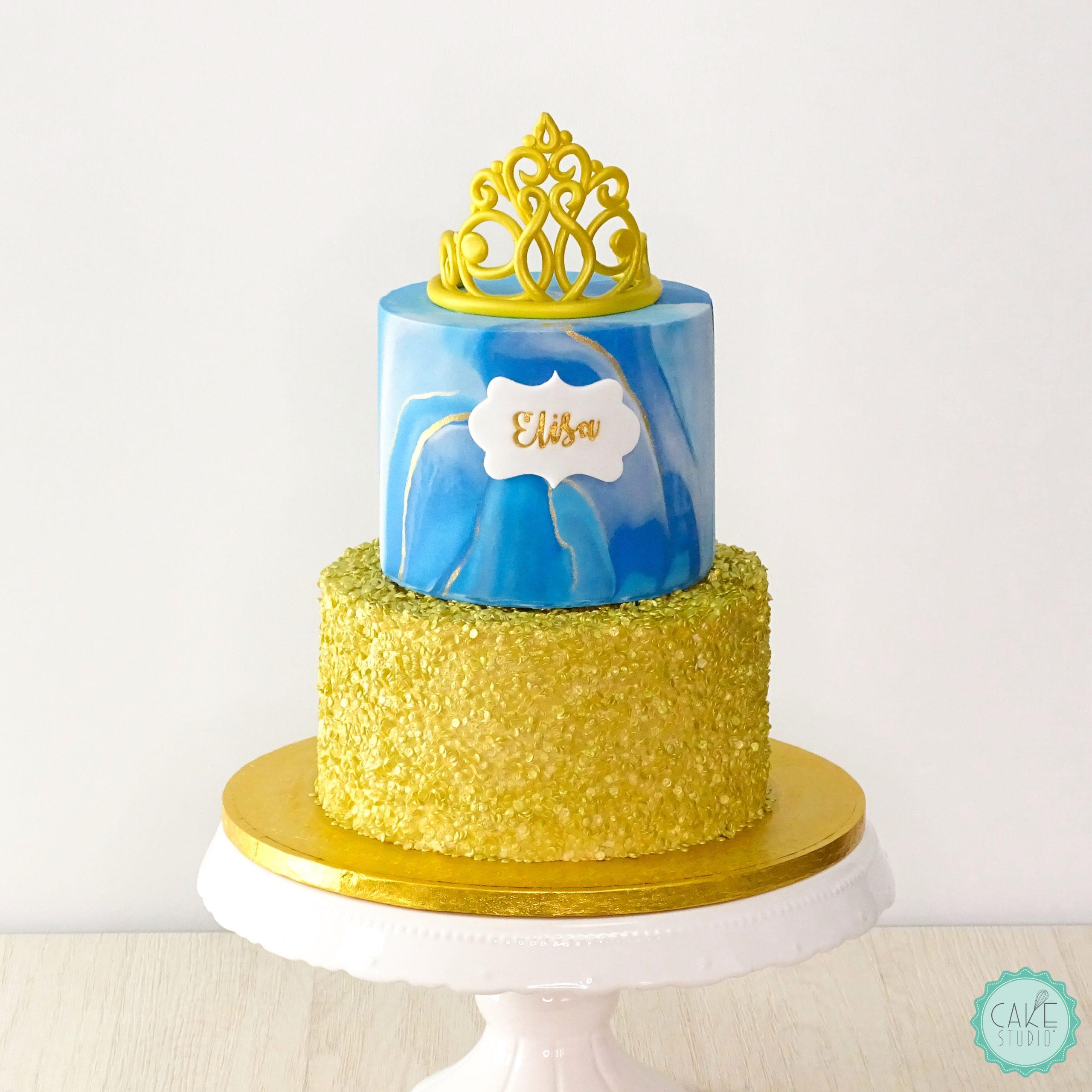 torta compleano paillettes oro marmorizzato bluette corona diadema