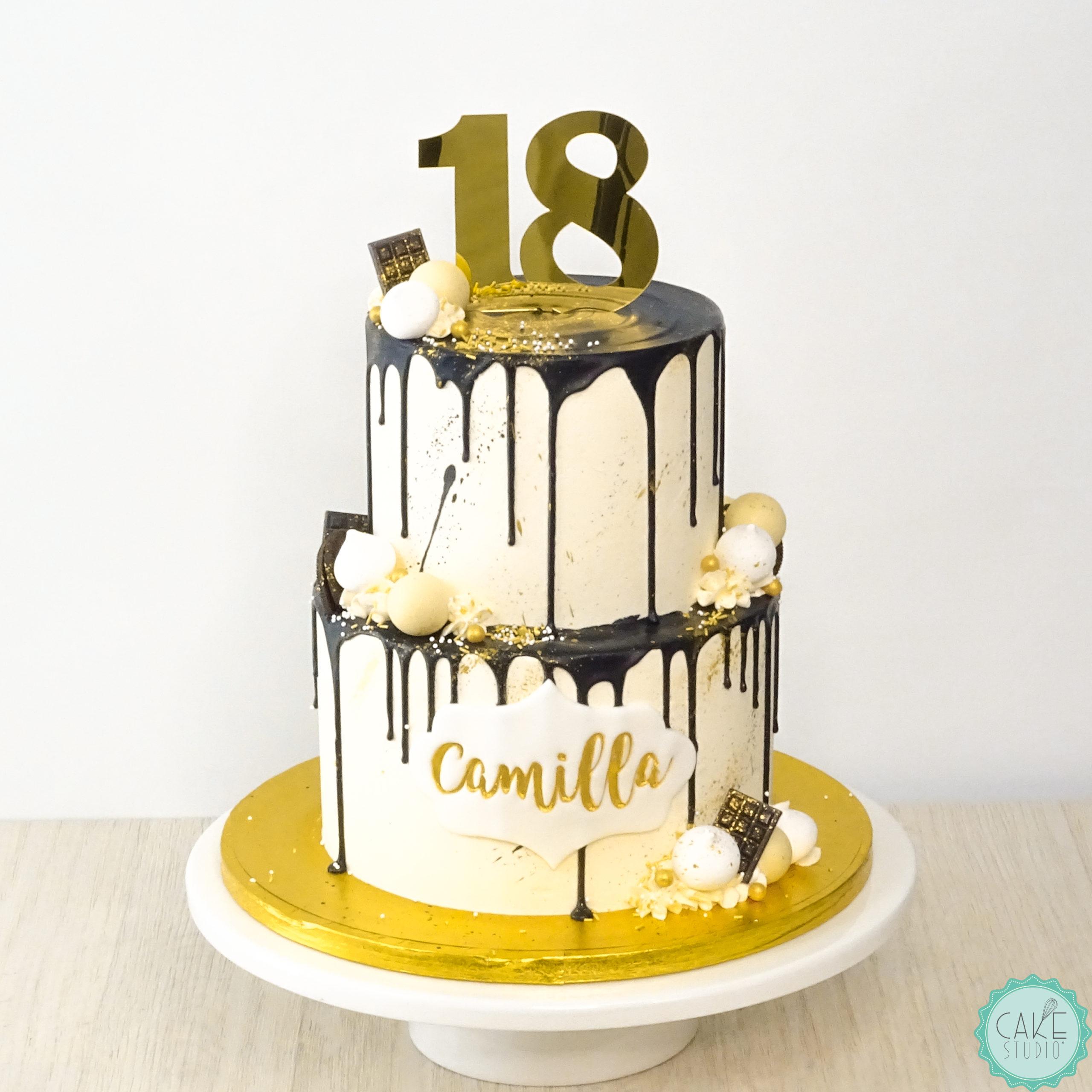 drip cake bianco oro nero 18