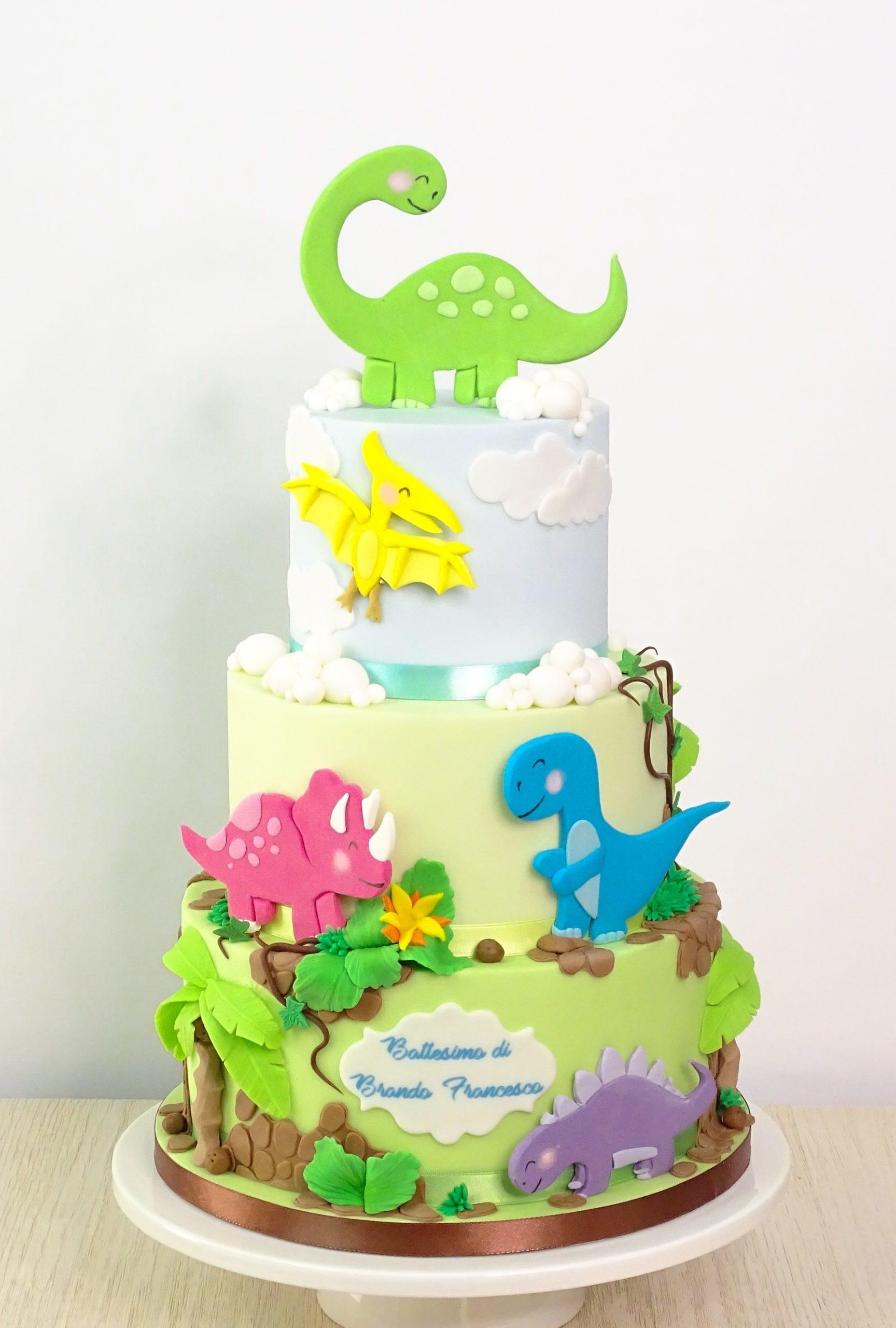 torta battesimo compleanno con baby dinosauri palme liane nuvole
