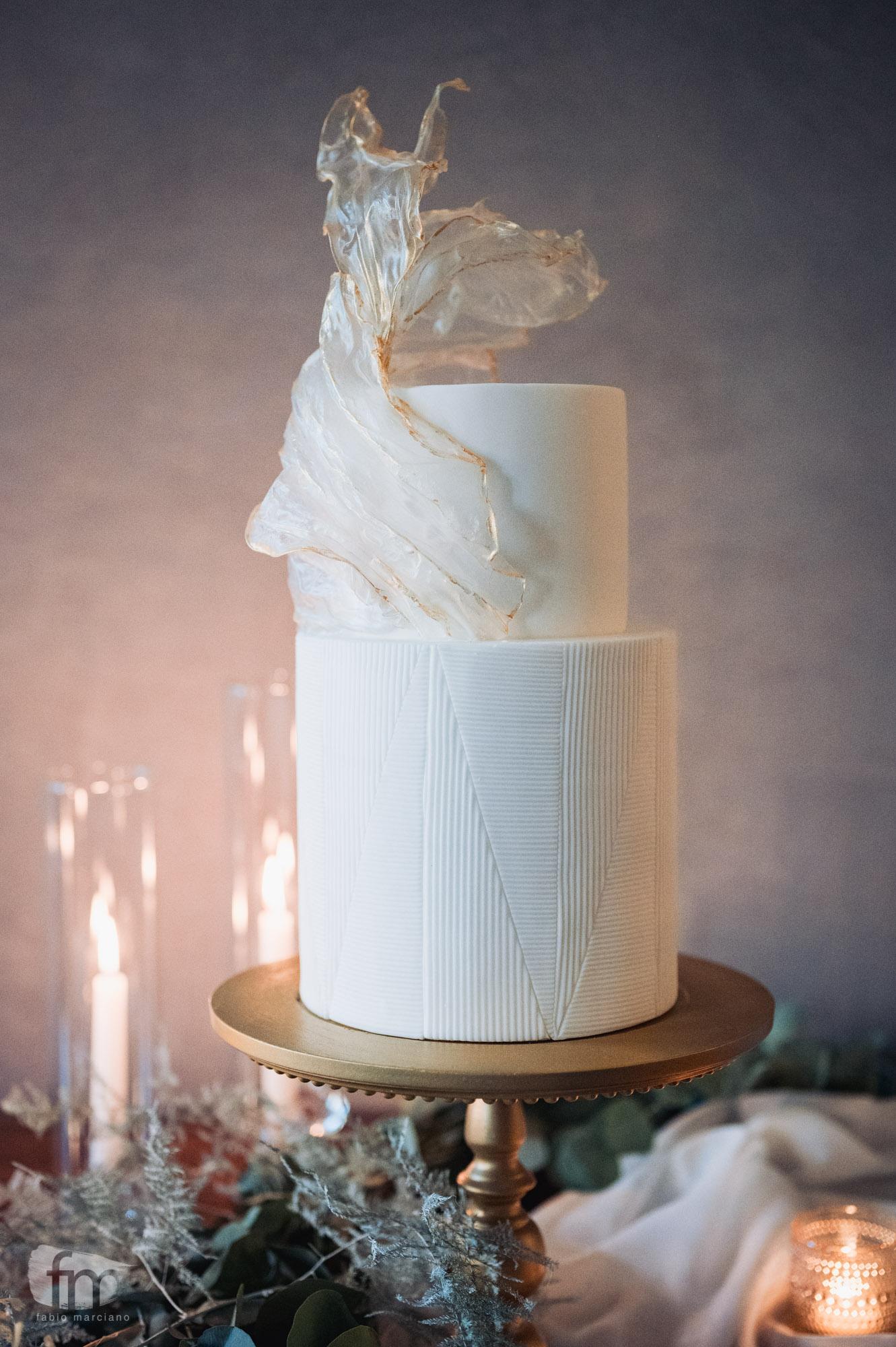 wedding cake con vele carte di riso