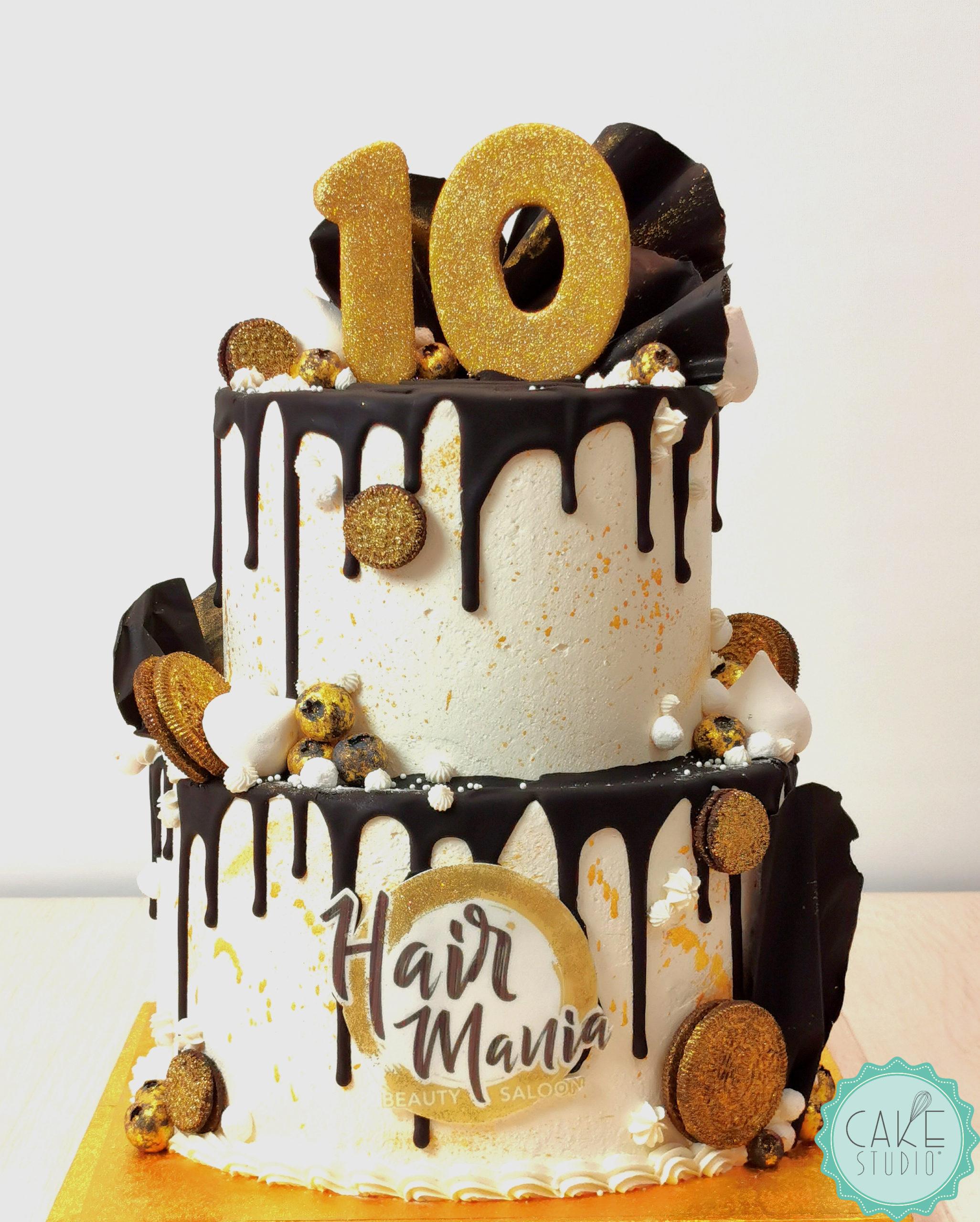 drip cake bianco nero oro per decennale