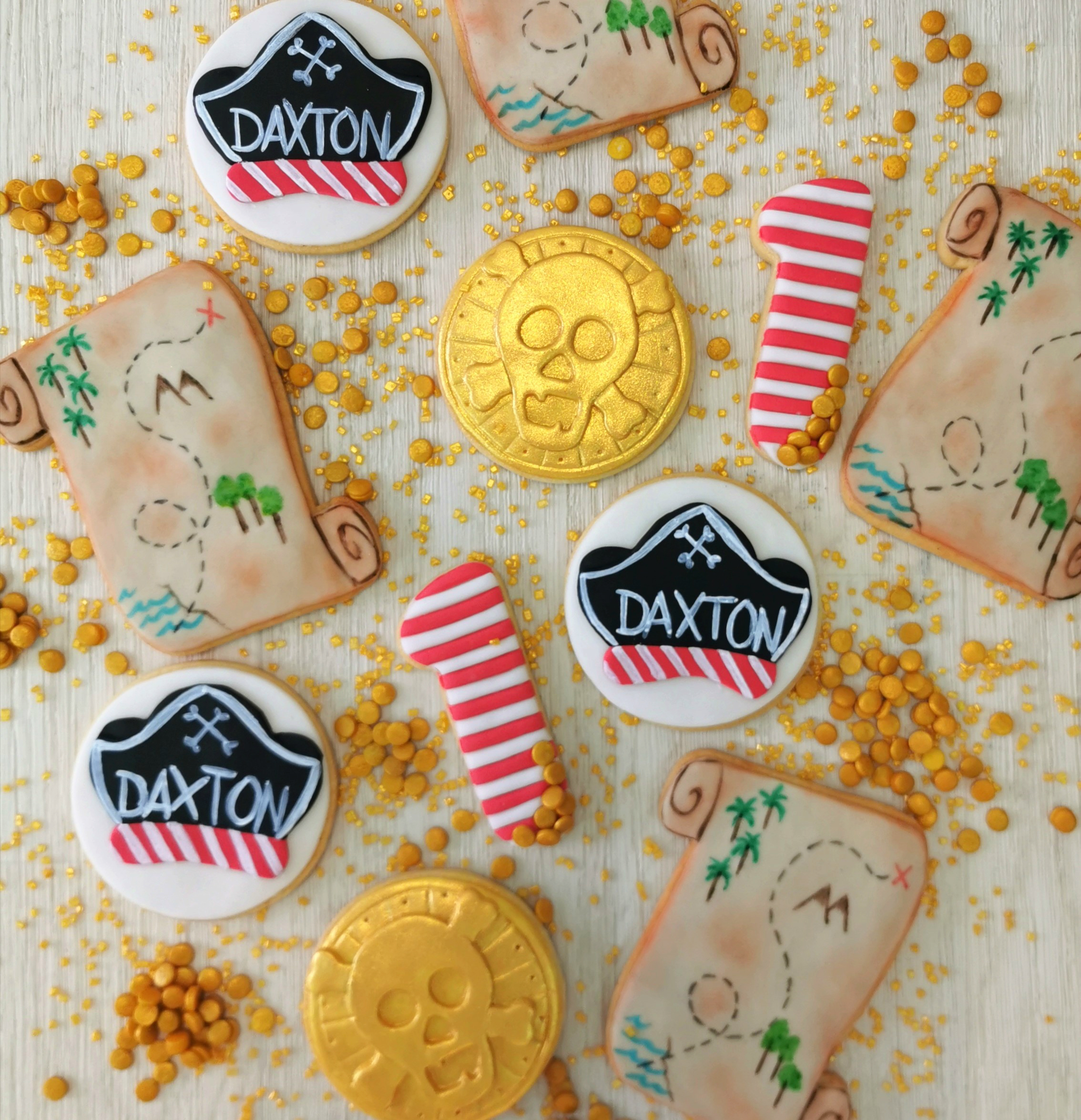 biscotti cappello pirata mappa e moneta oro