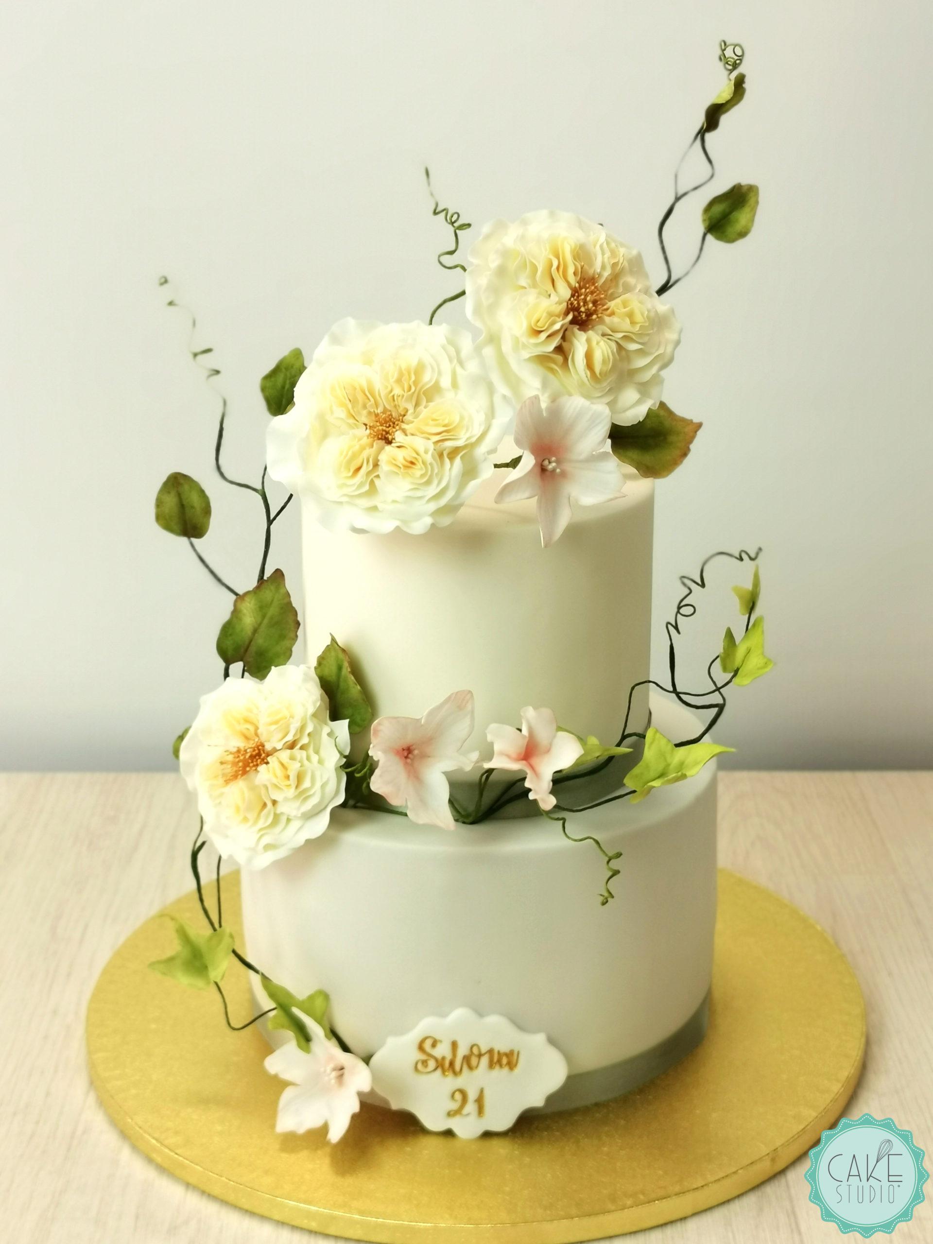 torta compleanno rose austin inglesi zucchero