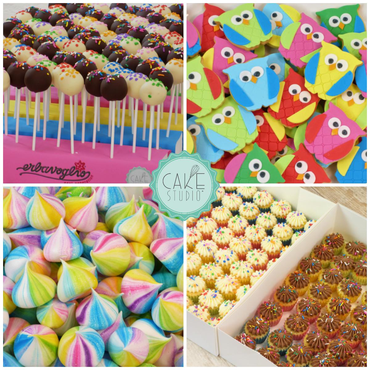 meringhe arccobaleno, minicupcake cake pop biscotti gufo per evento aziendale erbavoglio