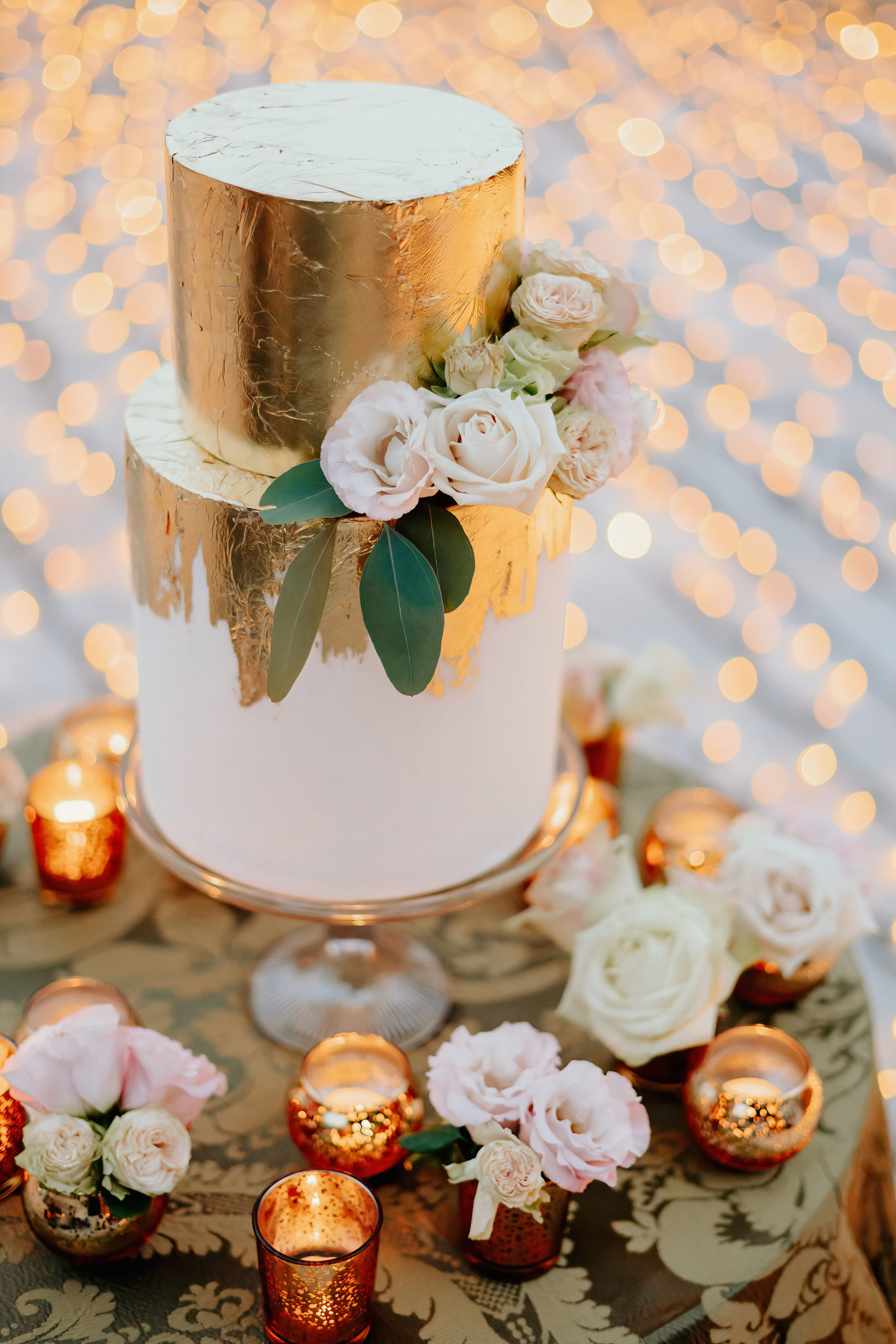 wedding ake oro rose fiori candele venezia